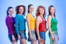 Friends Standing In A Row Stock Photos