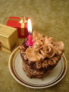Free Birthday Cake With Candle Royalty Free Stock Image - 2585636