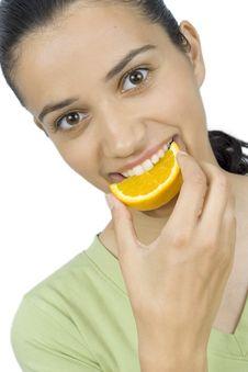 Free Girl Eating Orange Royalty Free Stock Photo - 2586515