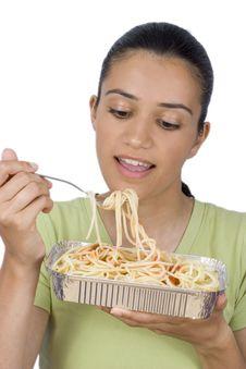 Free Girl Eating Spaghetti Royalty Free Stock Photo - 2586535
