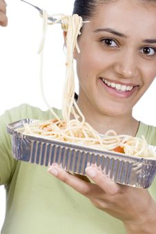 Free Girl Eating Spaghetti Royalty Free Stock Images - 2586559