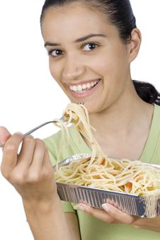Free Girl Eating Spaghetti Stock Photos - 2586563