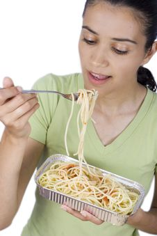 Girl Eating Spaghetti Royalty Free Stock Images