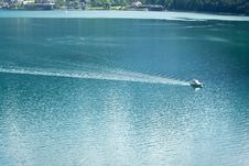 Free Motor Boat Is Acrossing Alps Stock Photography - 2587692