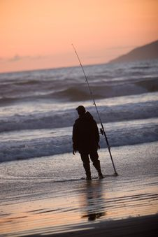 Free Silhouette Of Man Fishing Royalty Free Stock Images - 2587969