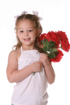 Free Rose Flower Girl With Bows Royalty Free Stock Image - 2589756