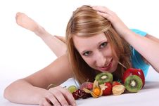 Free Woman With Fruits Stock Photography - 25800442