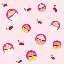 Free Seamless Cupcake Pattern Royalty Free Stock Images - 25808649