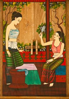 Free Thai Painting Of Women. Stock Photography - 25808862