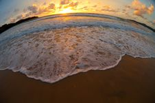 Sea Beach Sunset By Fisheye Lens Stock Photo