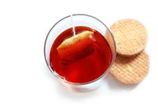 Free Fresh Healthy Tea In Glass With Cookies&x28;biscuits&x29; Stock Photos - 25813373