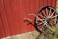 Free Old Wagon Wheel Red Wall Royalty Free Stock Image - 25814376