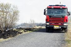 Free Burned Grass And A Firetruck Royalty Free Stock Images - 25822719