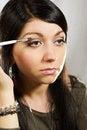 Free Applying Eyeshadow Using Eyeshadow Brush Royalty Free Stock Images - 25837849