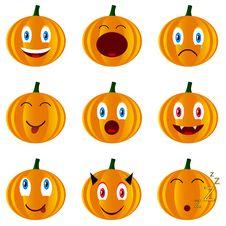 Free Nine Pumpkins Stock Images - 25836464