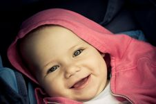 Free Baby With Pink Hood Stock Image - 25838031