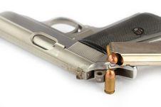 Free Bullets And Semi-automatic Gun Royalty Free Stock Image - 25838086
