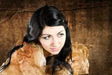 Brunette With Brown-gold Butterfly Royalty Free Stock Image