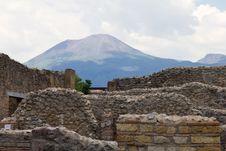 Vesuvius Overlooking Ruins Stock Image
