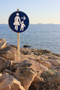 Free Woman And Child - Beach Path Sign Stock Photography - 25848342