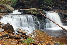 Free Waterfall With Autumn Leaves Stock Image - 25840881