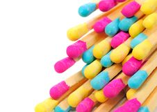 Free Multicolored Matches On White Background Royalty Free Stock Images - 25841749