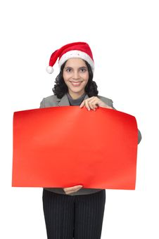 Santa Woman Hold Banner Stock Image
