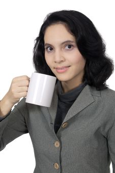 Free Business Woman Drink Coffee Royalty Free Stock Photography - 25842217
