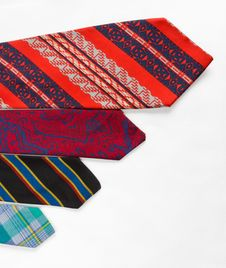 Free Neckties On White Cloth Stock Image - 25845891