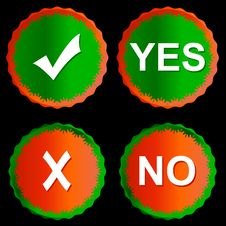 Free Buttons Yes And No Stock Photography - 25852562