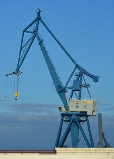 Blue Harbor Crane Stock Images