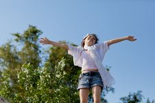 Free Young Girl On Top Of The World Royalty Free Stock Image - 25856196