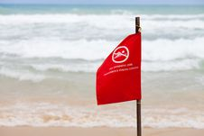 No Swimming Here Dangerous Strong Current Flag Royalty Free Stock Photo