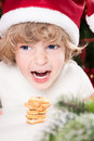 Free Funny Child In Santa`s Hat Royalty Free Stock Photography - 25860637