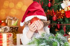 Free Happy Child Holding Christmas Ball Stock Images - 25860494