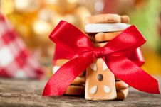 Free Cookies With Red Bow Stock Photo - 25860880