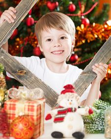 Free Happy Boy Playing In Christmas Stock Image - 25860941