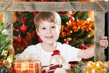 Happy Boy Looking Into Frame Stock Images