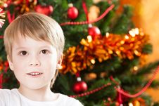 Free Closeup Portrait Of Boy In Christmas Stock Images - 25861014