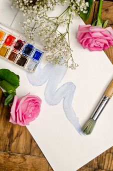 Free Watercolor, Paper And Brush Royalty Free Stock Photos - 25863378