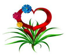 Free Heart With Flowers And Leaves Royalty Free Stock Photo - 25867275