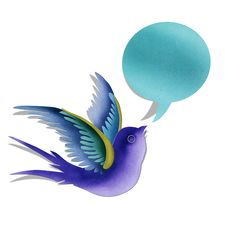 Free Blue Swallow With Bubble Message. Stock Image - 25869931