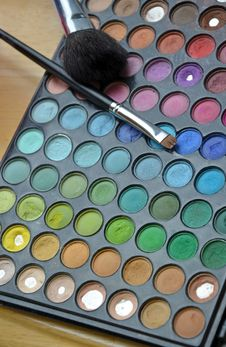 Colorful Eye Makeup Tray Stock Photography