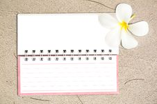 Free White Notebook With Frangipani Flower On The Sand Stock Photos - 25871803