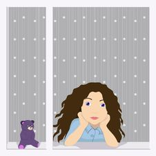 Free Girl In The Window Stock Images - 25873984