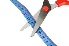 Free Scissors And Blue Tape Measuring Stock Image - 25877411