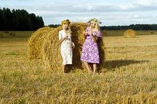 Free Two Girls In A Field Near Haystacks Royalty Free Stock Photos - 25879038