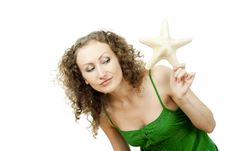 Happy Girl With The Starfish Isolated Royalty Free Stock Images