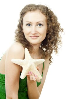 Free Girl With Starfish Royalty Free Stock Photo - 25879285