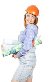 Free Girl With A Construction Helmet And Wallpaper Royalty Free Stock Photo - 25879625